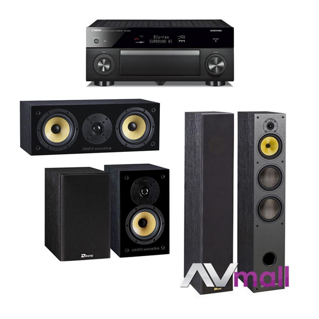 Pachet Receiver AV Yamaha RX-A1080 + Pachet Boxe Davis Acoustics Hera 200 + Boxe Davis Acoustics Balthus 30 + Boxa Davis Acoustics Balthus 10