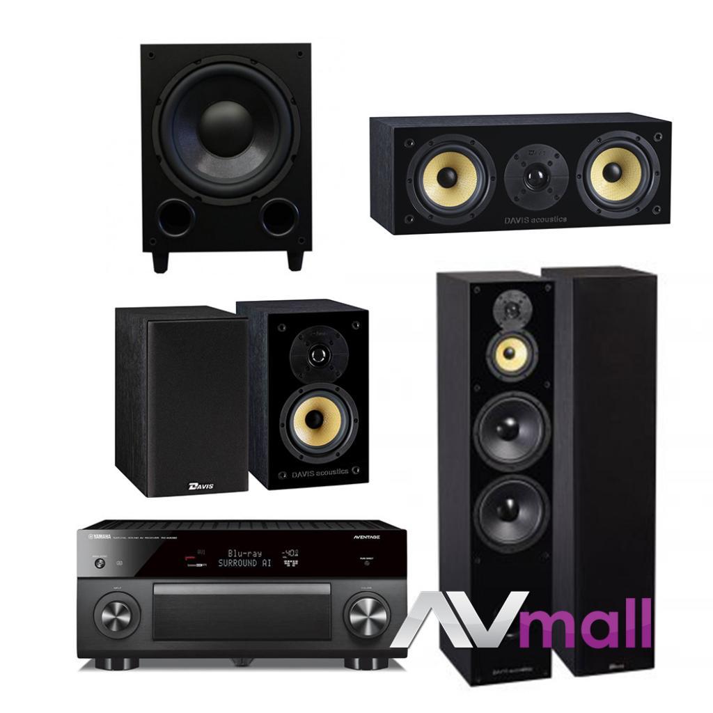 Pachet Receiver AV Yamaha RX-A3080 + Pachet Boxe Davis Acoustics Balthus 90 + Boxe Davis Acoustics Balthus 30 + Boxa Davis Acoustics Balthus 10 + Subwoofer Davis Acoustics Basson 77