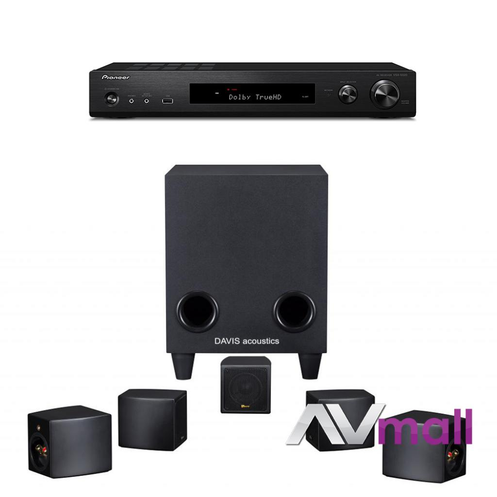 Pachet Receiver AV Pioneer VSX-S520 + Sistem de Boxe 5.1 Davis Acoustics Cinestyle